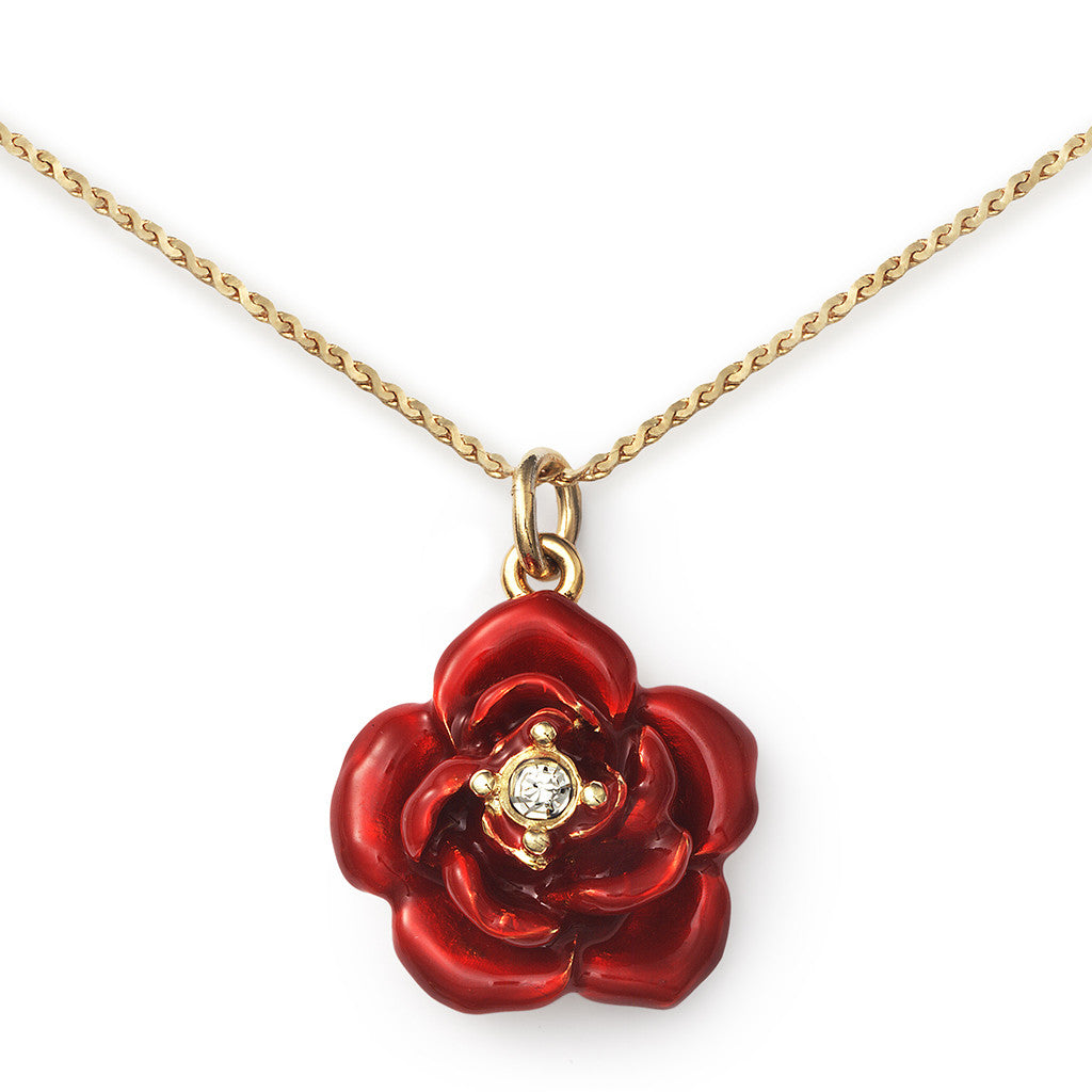 Red Rose Pendant On 14k Gold Serpentine Chain