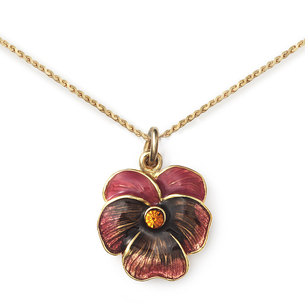 Pansy Pendant On 14k Gold Serpentine Chain