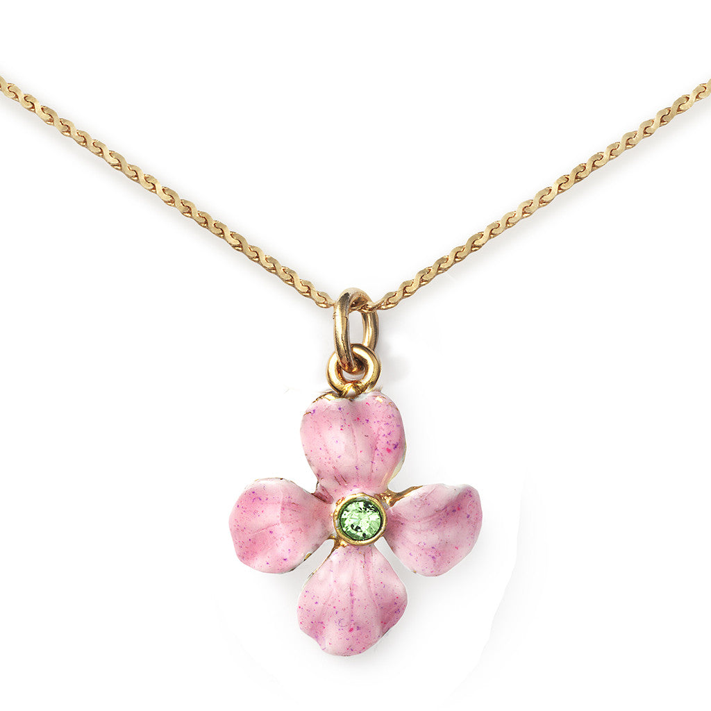 Wallflower Pendant On 14k Gold Serpentine Chain