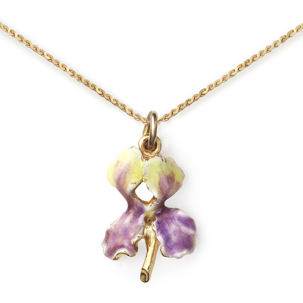 Iris Pendant On 14k Gold Serpentine Chain