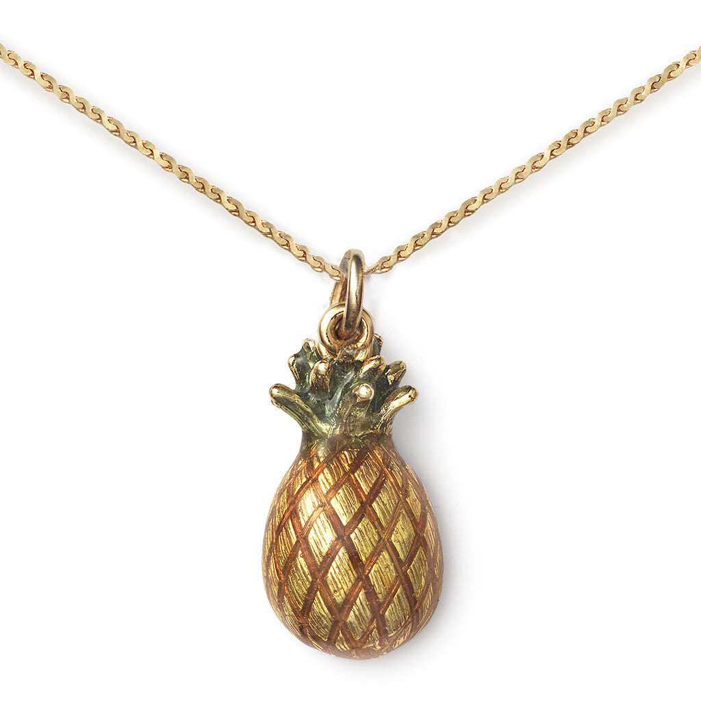Pineapple Pendant On 14k Gold Serpentine Chain