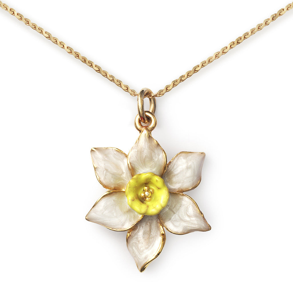 Jonquil Pendant On 14k Gold Serpentine Chain