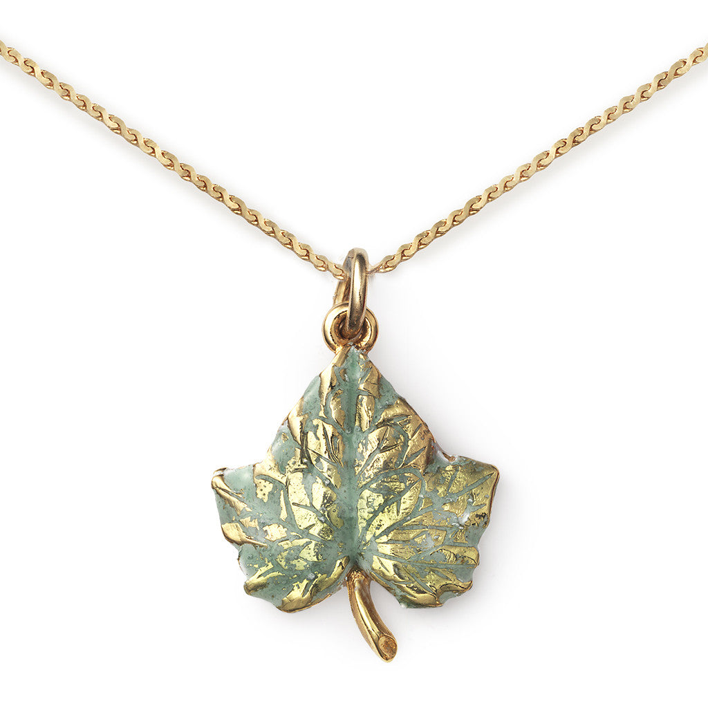 Ivy Pendant On 14k Gold Serpentine Chain