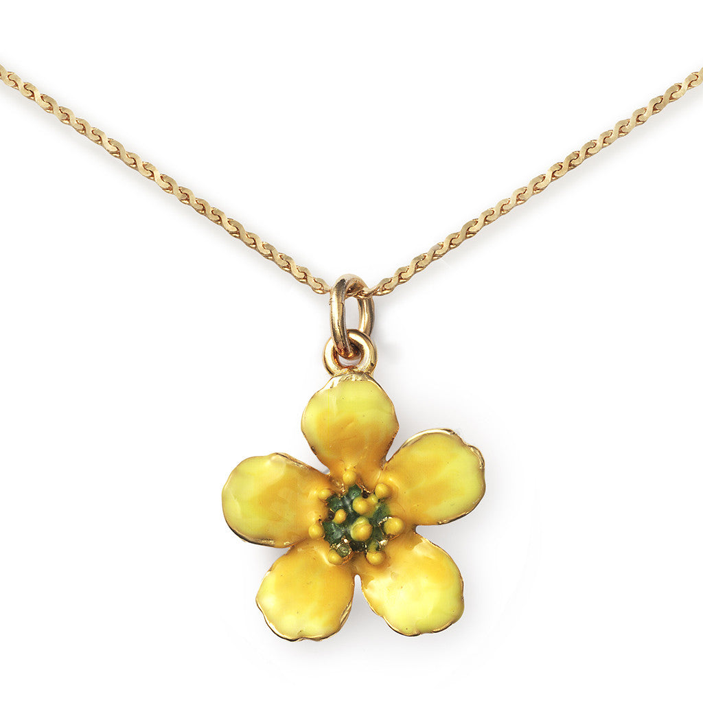 Buttercup Pendant On 14k Gold Serpentine Chain