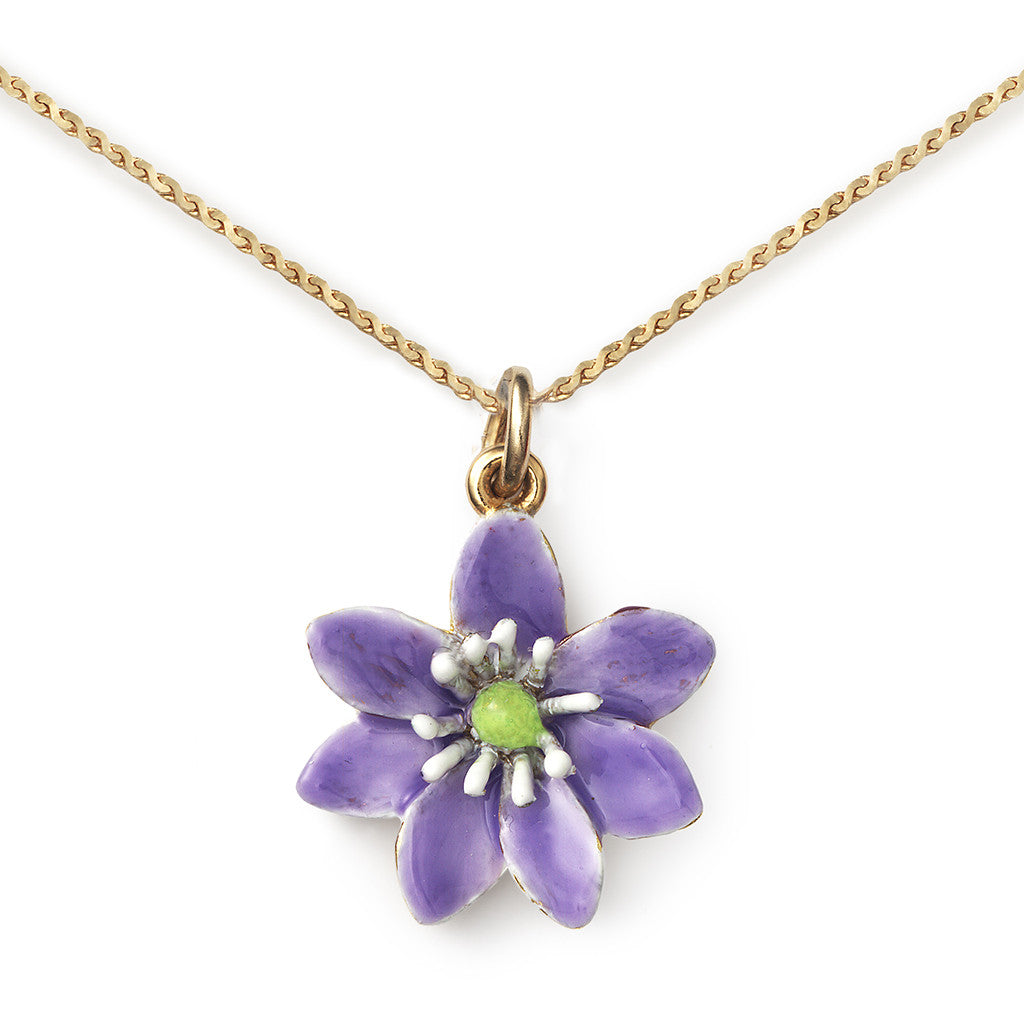 Hepatica Pendant On 14k Gold Serpentine Chain