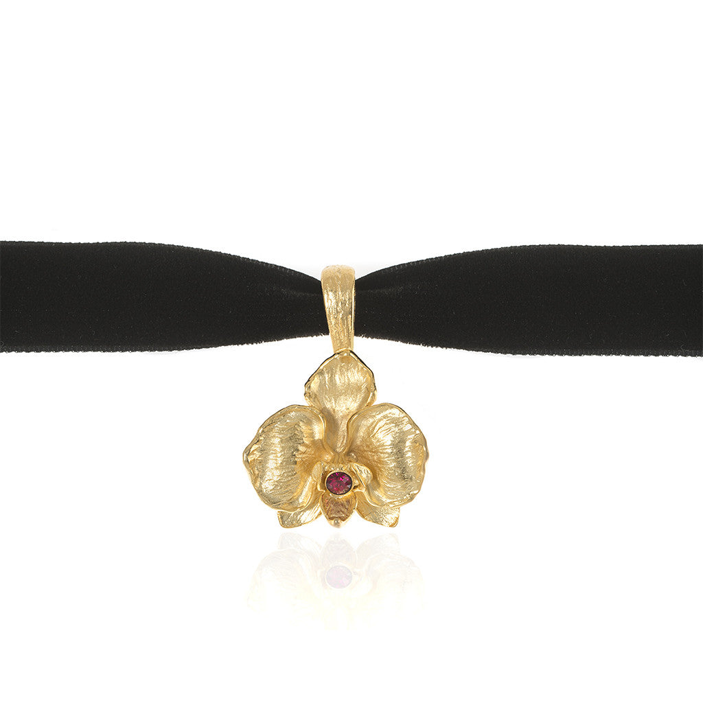 Orchid Velvet Choker With Goldtone Pendant and Ruby Crystal