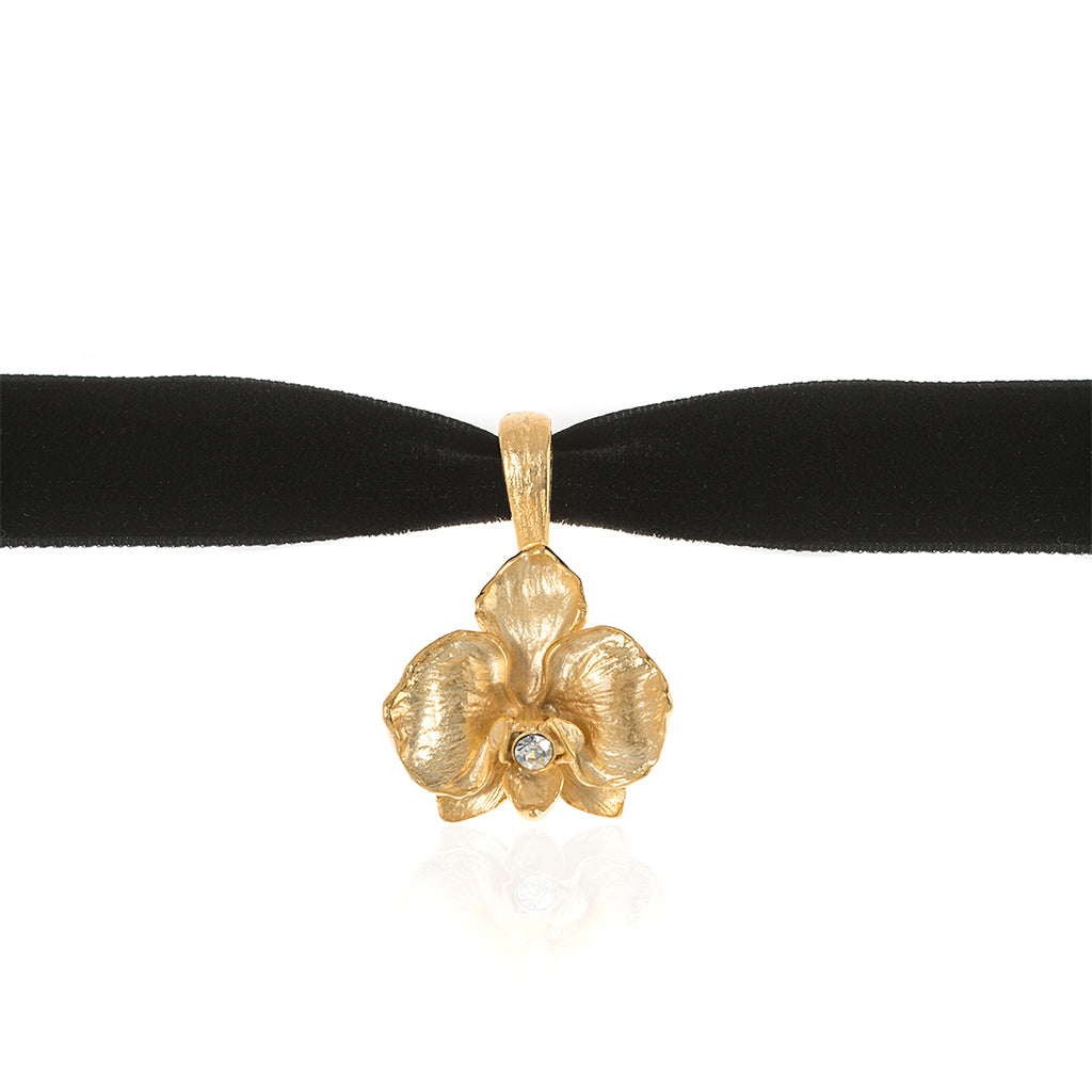 Orchid Velvet Choker With Goldtone Pendant and Austrian Crystal