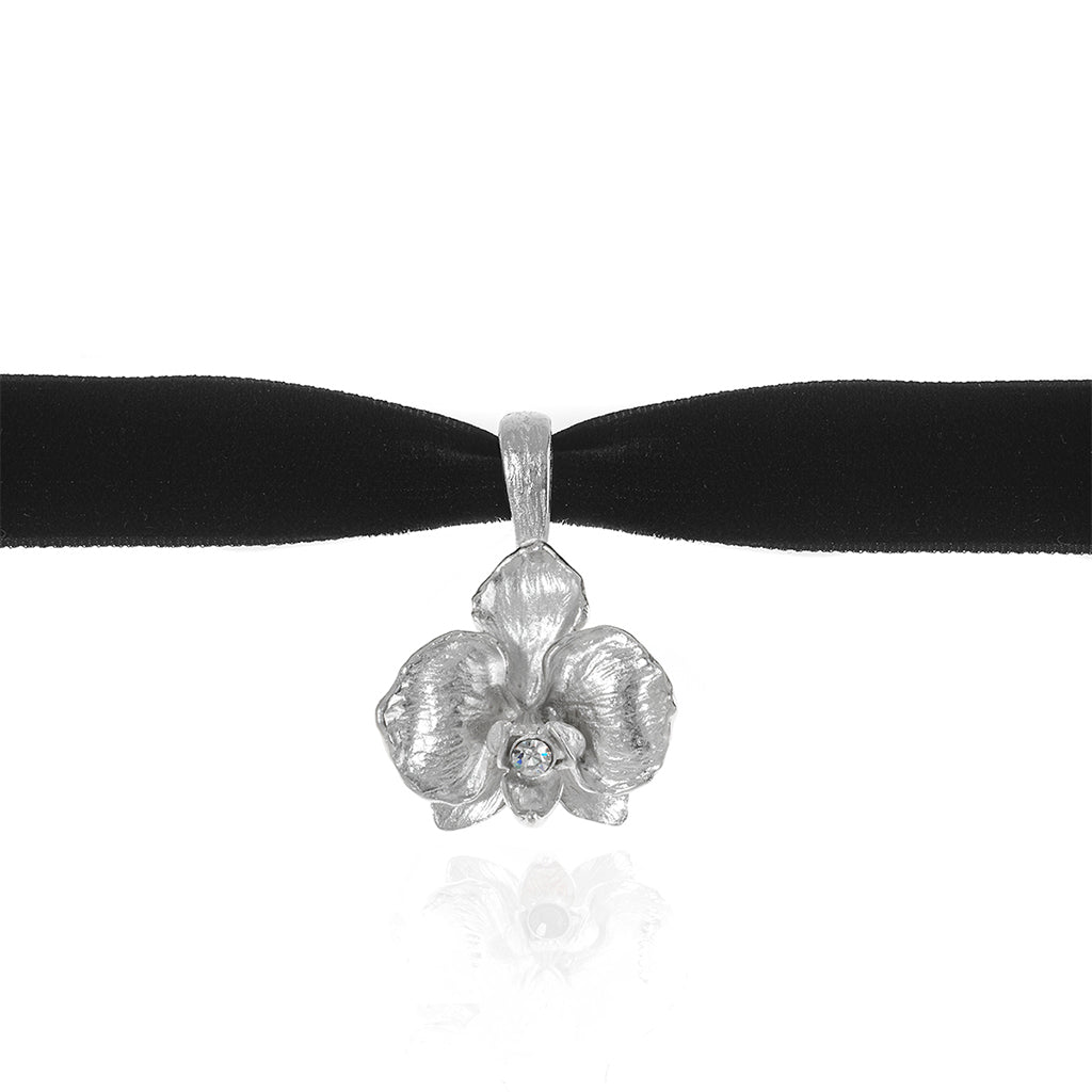Orchid Velvet Choker With Silvertone Pendant and Clear Crystal