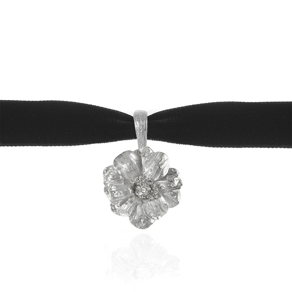Double Rose Velvet Choker With Silvertone Pendant