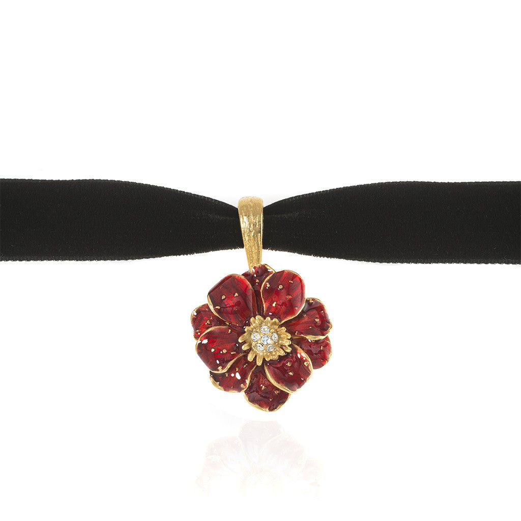 Double Rose Choker Pendant with Red Flower