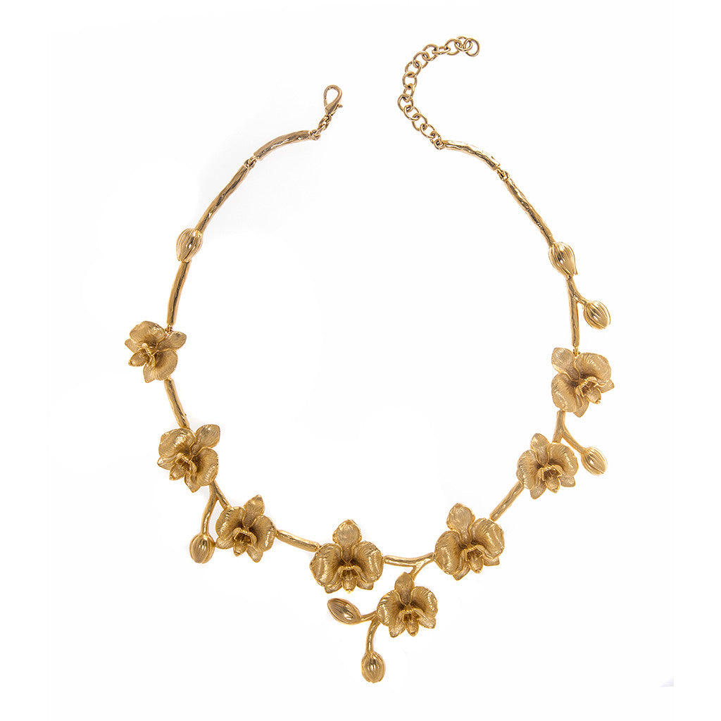 "18"" Goldtone Orchid Necklace"