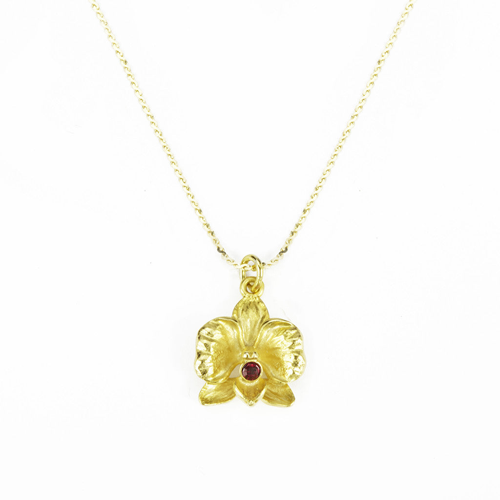 Orchid 14k Gold Chain with Goldtone Pendant and Red Crystal