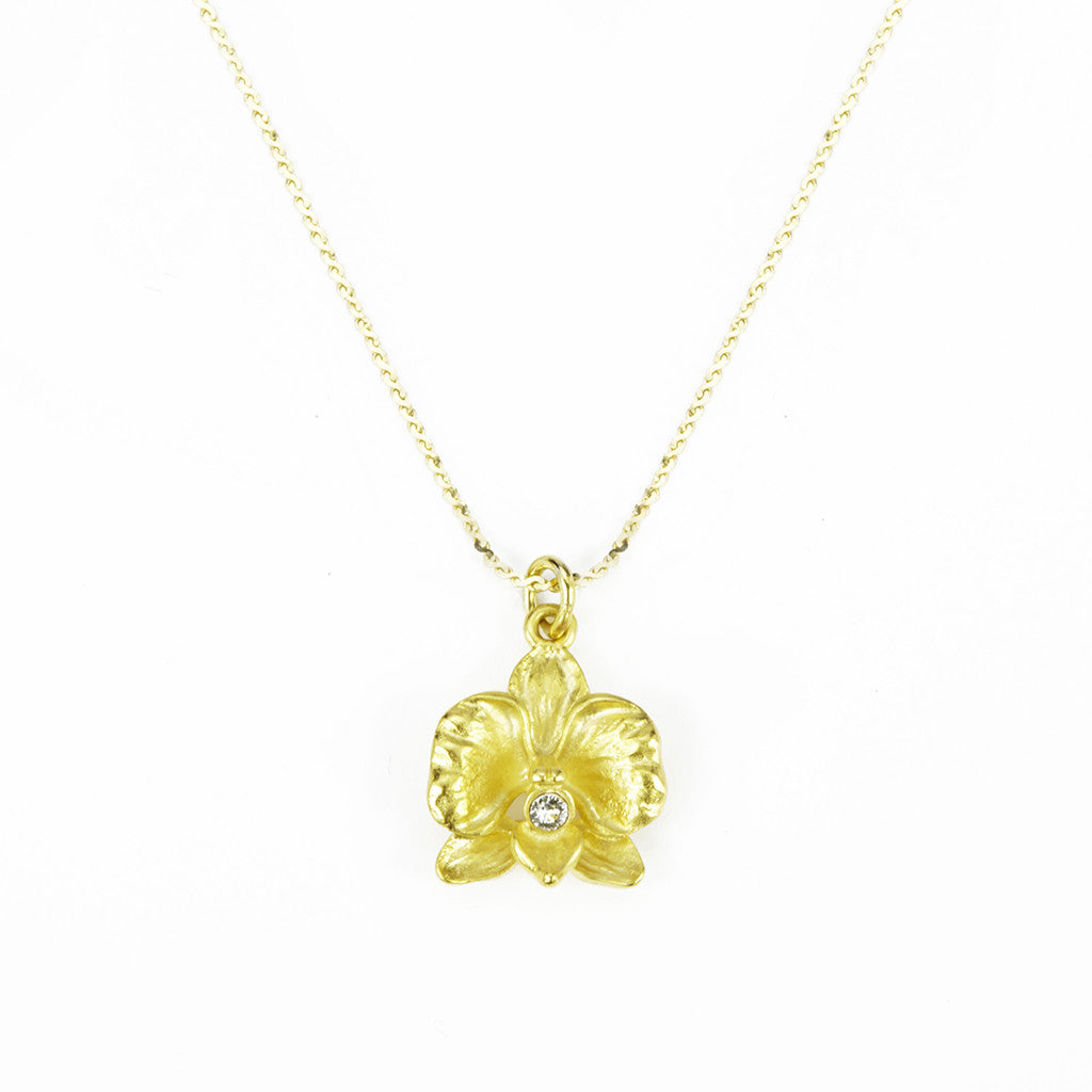 Orchid 14k Gold Chain with Goldtone Pendant and Clear Crystal
