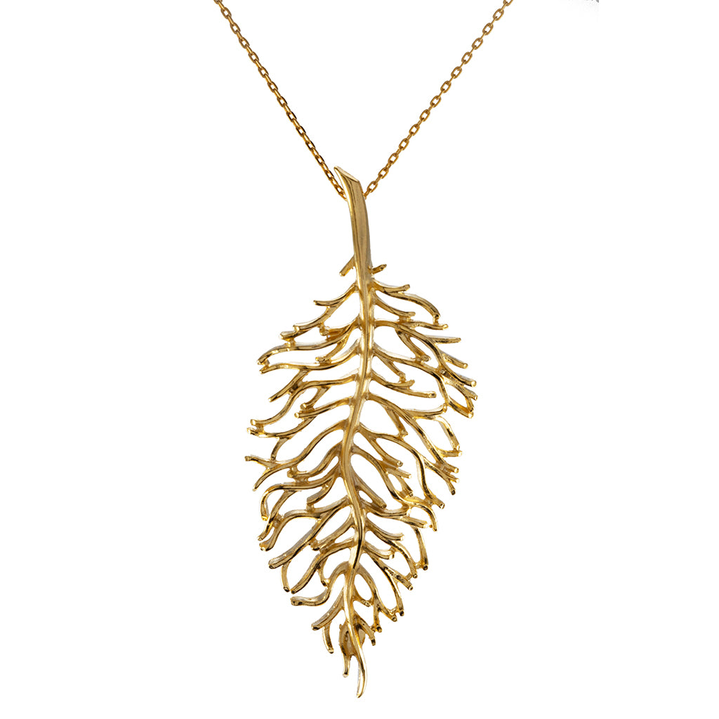 "Goldtone Leaf Pendant with 28"" Necklace"