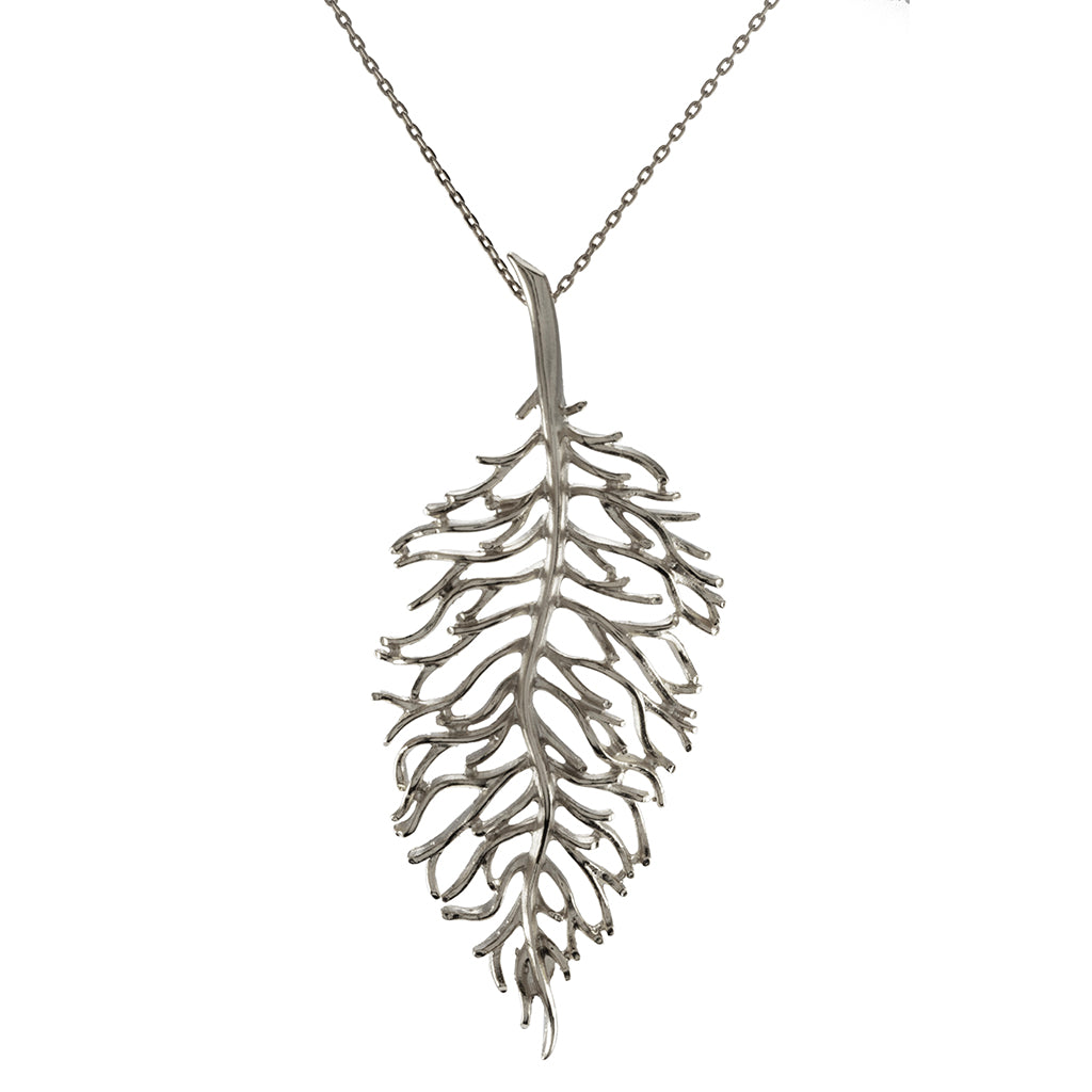 "Silvertone Leaf Pendant with 28"" Necklace"