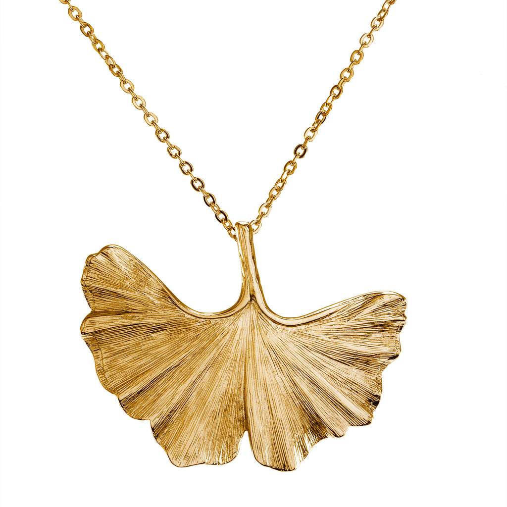 "Goldtone Ginko Pendant with a 30"" Chain Necklace"