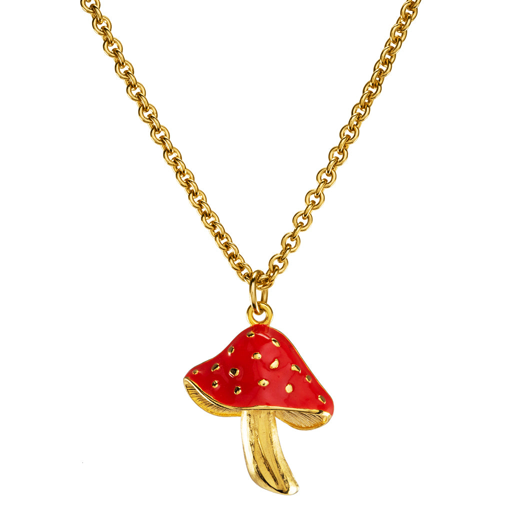 Goldtone Red Mushroom Pendant Necklace 18""