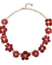 Garden Red Necklace w Austrian Crystals 16""