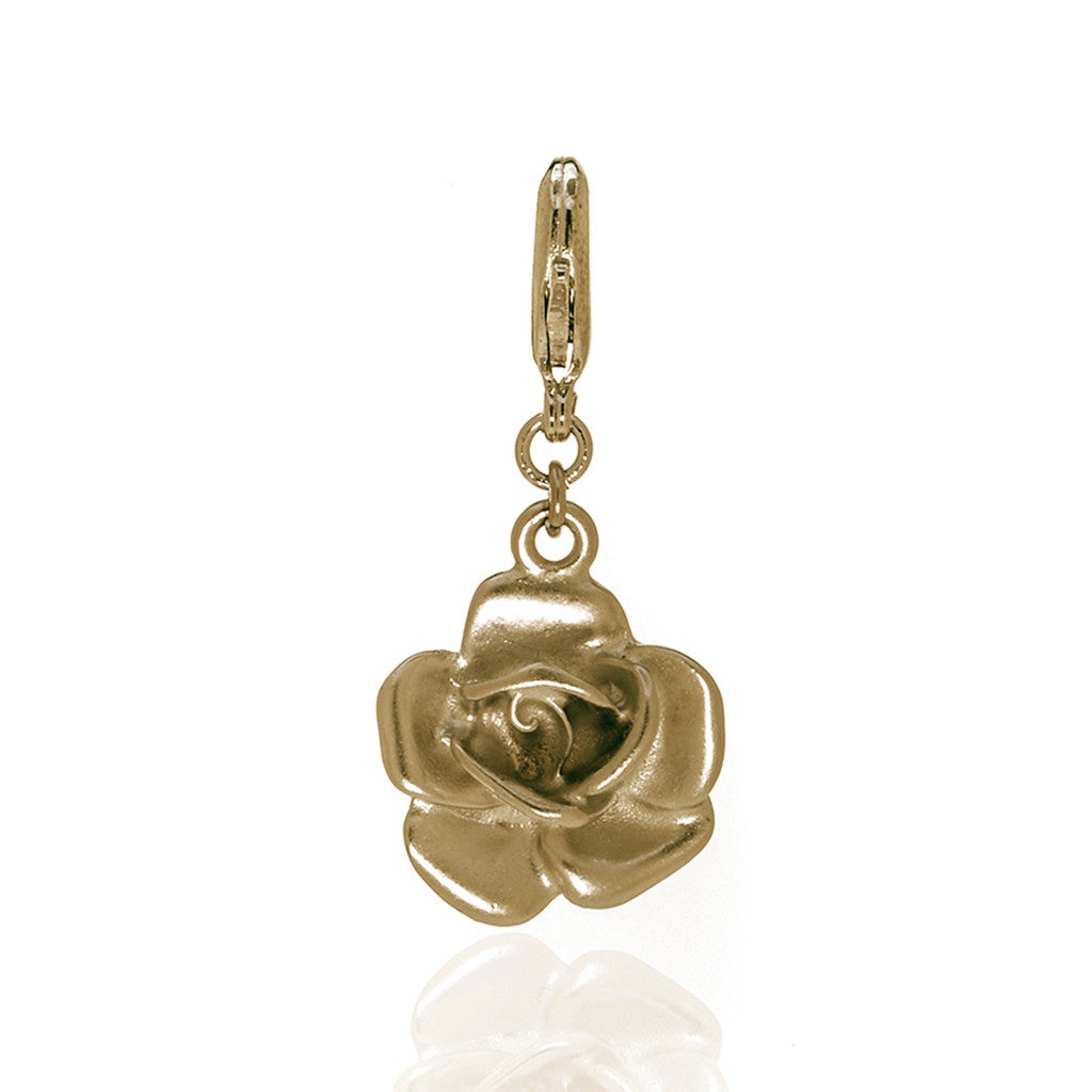 Garden Gold Rose Charm w Lobster Claw