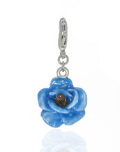 Garden Blue Rose Charm w Lobster Claw