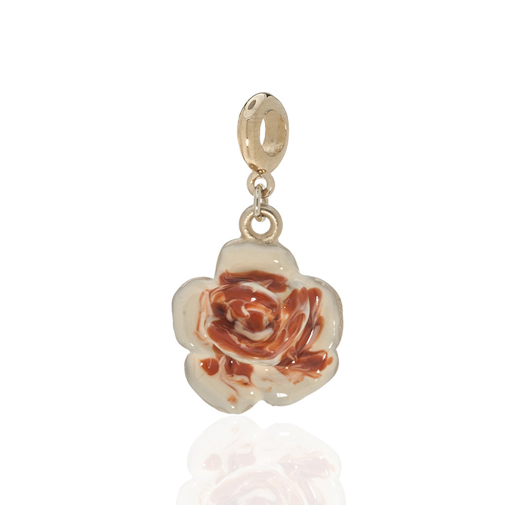 Garden Peach Rose Charm w Ring