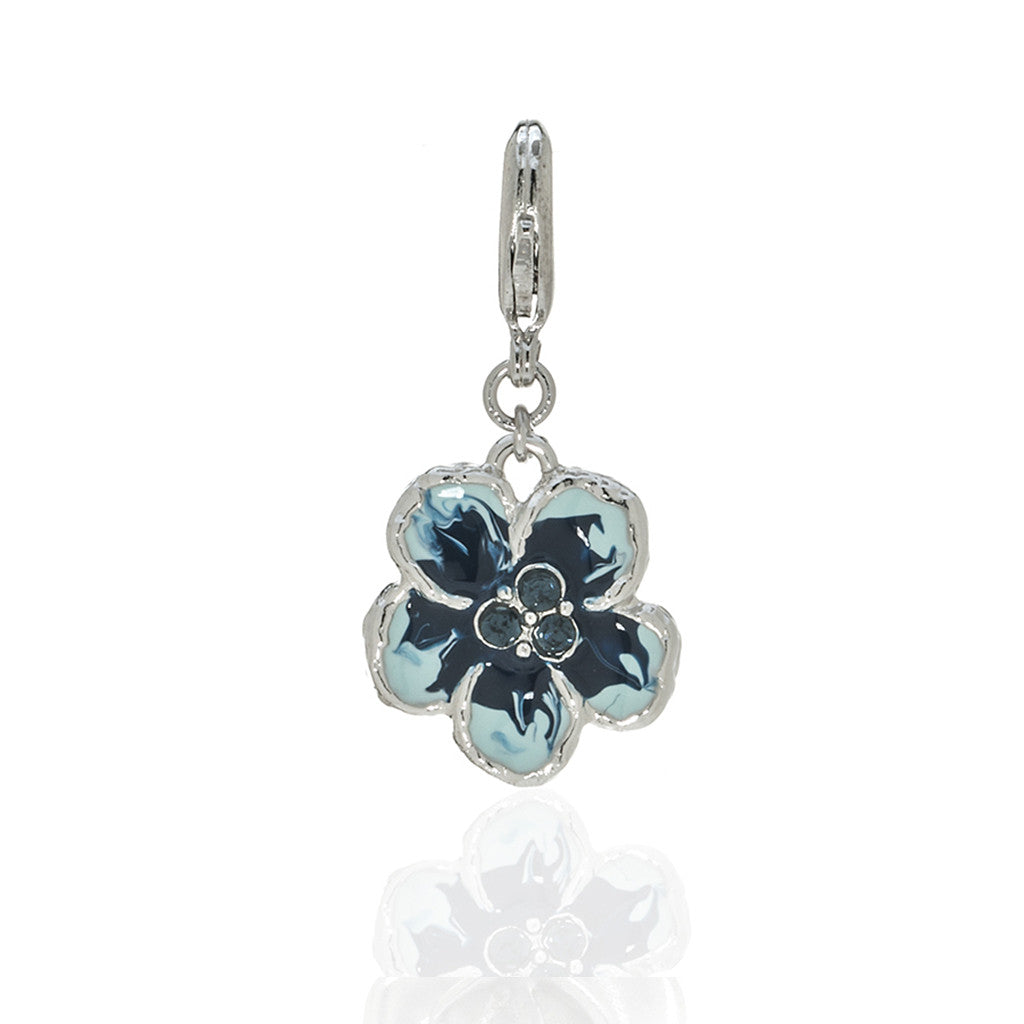 Orchid Evening Blue Mix Charm with Lobster Claw