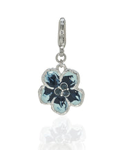 Orchid Evening Blue Mix Charm w Lobster Claw