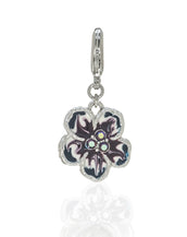 Orchid Evening Purple Mix Charm w Lobster Claw