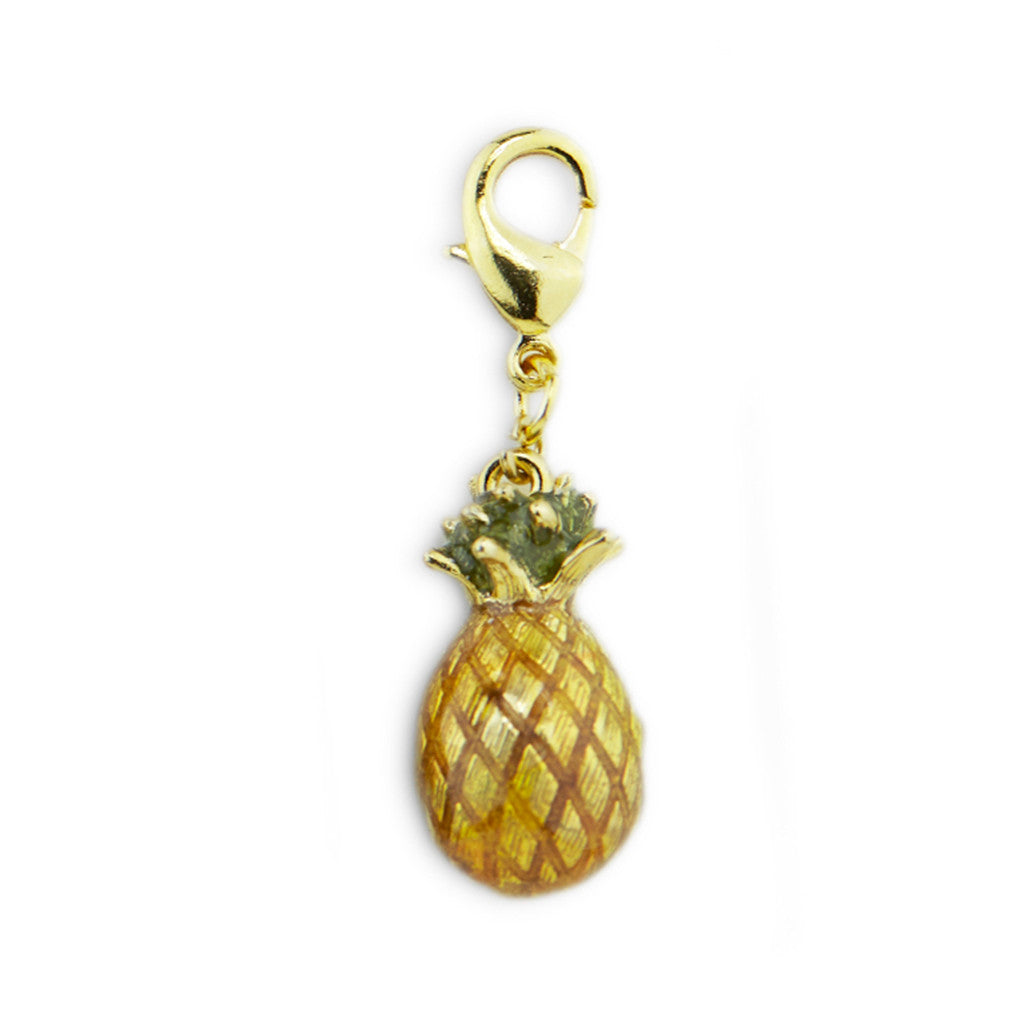 Pineapple Gold Tone Drop Charm