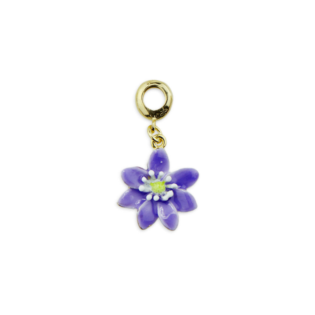 Hepatica Gold Tone Drop Charm