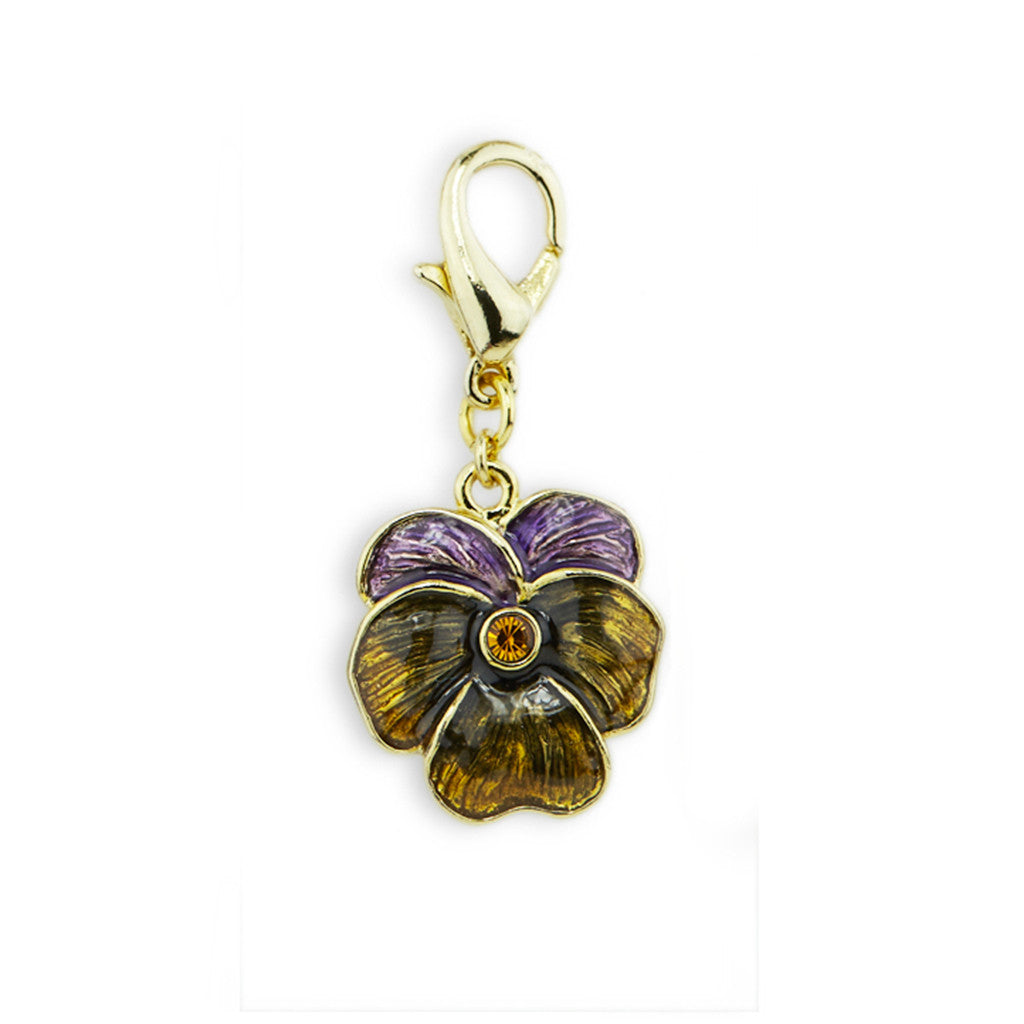 Pansy Gold Tone Drop Charm
