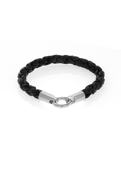 Black Leather Bracelet with Silvertone Stainless Steel Closure