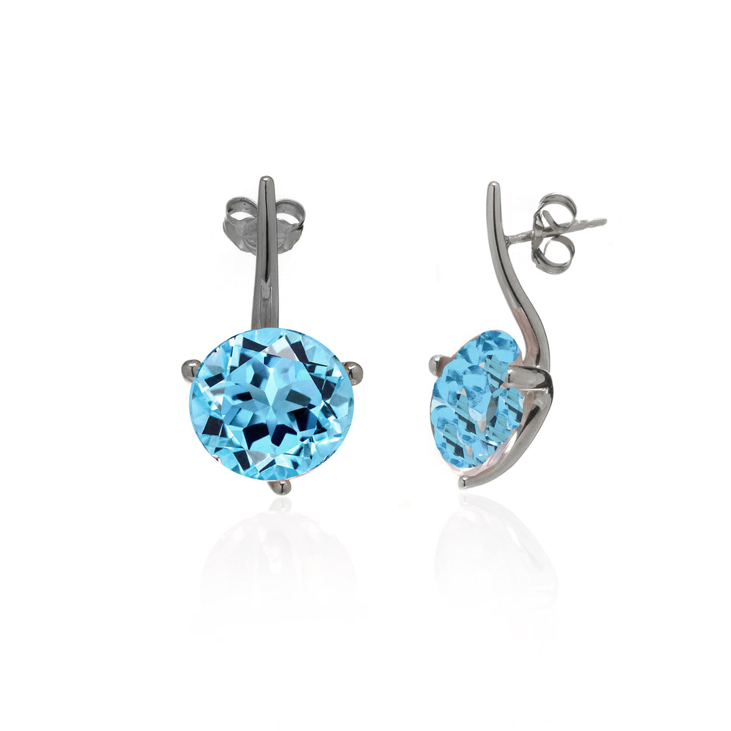 8 Carat Blue Topaz Earrings Set In 14K White Gold