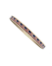 Thin Goldtone American Flags Bangle