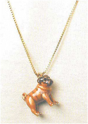 Brown Pug Adorable Pooch ® Necklace