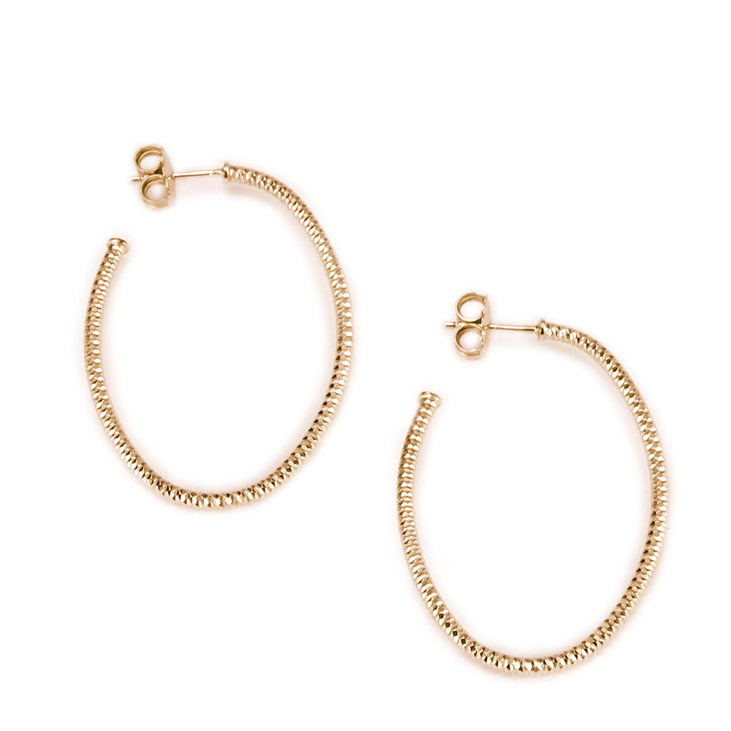 Goldtone Sterling Silver Oval Hoop Earrings-Medium