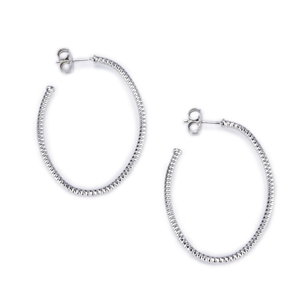Sterling Silver Oval Hoop Earrings-Medium