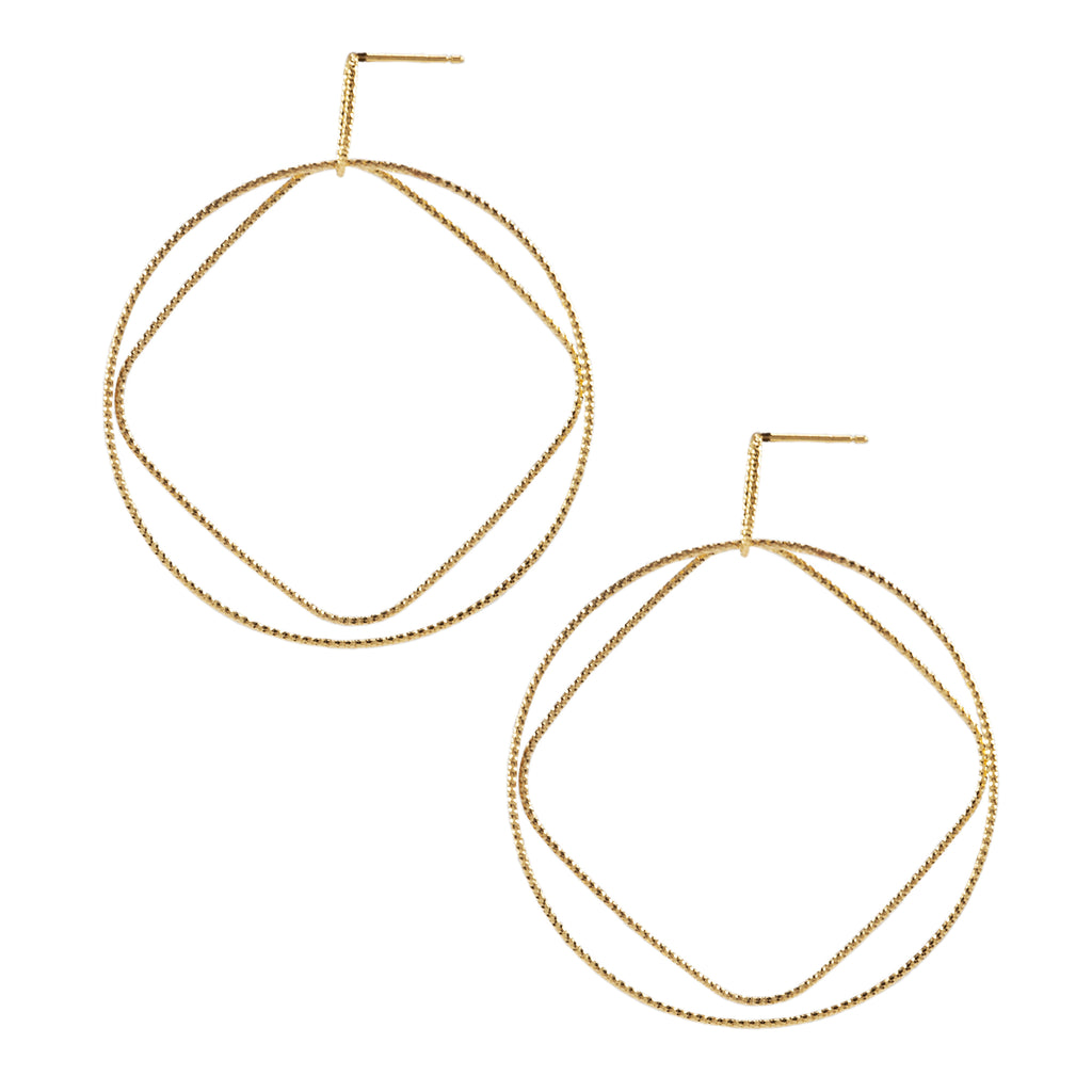 22k Gold plated Sterling Silver Round Drop earrings