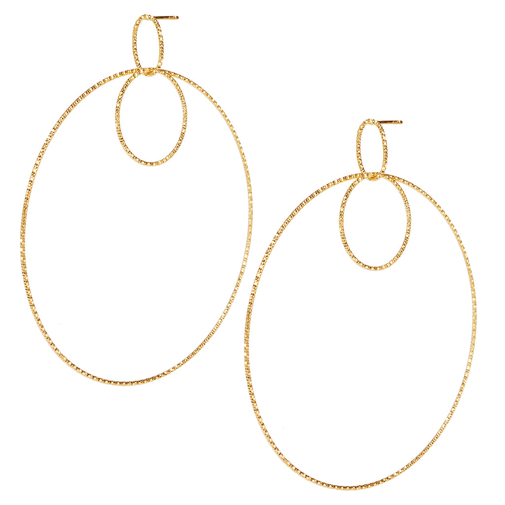 22k Gold plated Sterling Silver Large Round Drop earrings