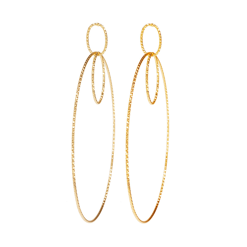 22k Gold plated Sterling Silver Medium Round Drop earrings