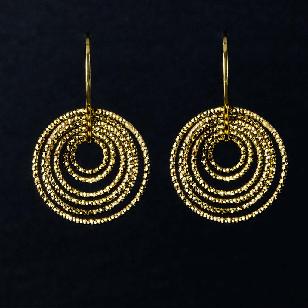 22k Gold Plated Sterling silver Diamond Cut Circles of Love Earrings