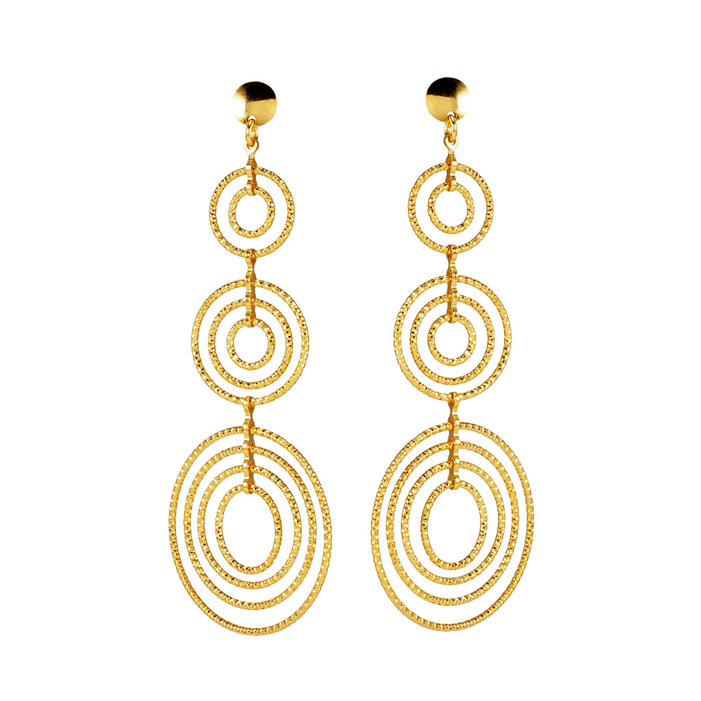 22k Gold Plated Sterling Silver Drop Earrings