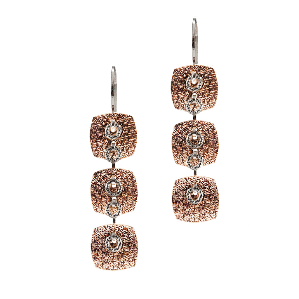 22k Rose Gold Plated Sterling Silver Square Triple Drop Earrings
