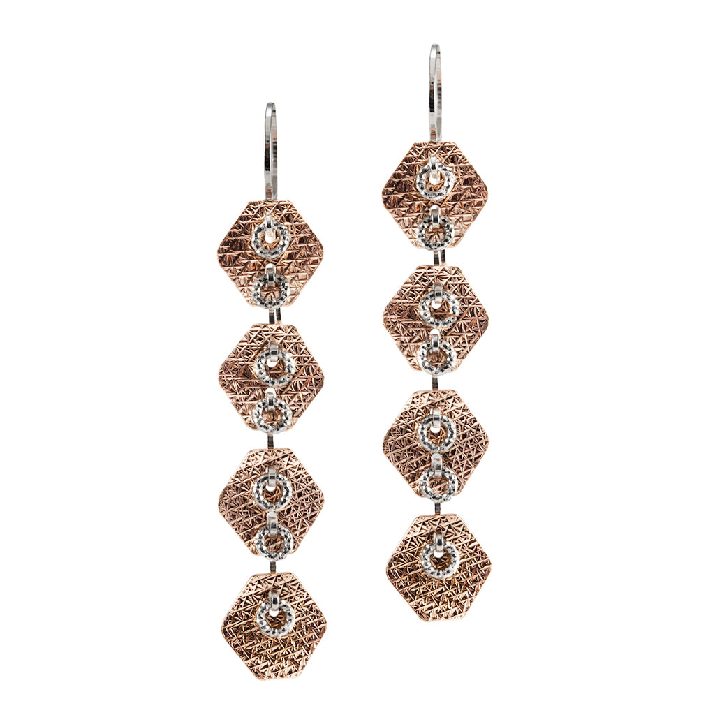 22k Rose Gold Plated Sterling Silver Quadruple Drop Earrings