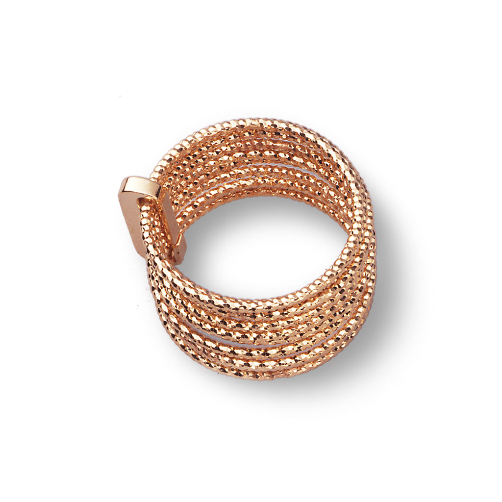 22k Rose Gold Plated Sterling Silver Stacked Ring