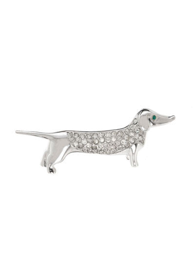 Crystal Dachshund Dog Pin