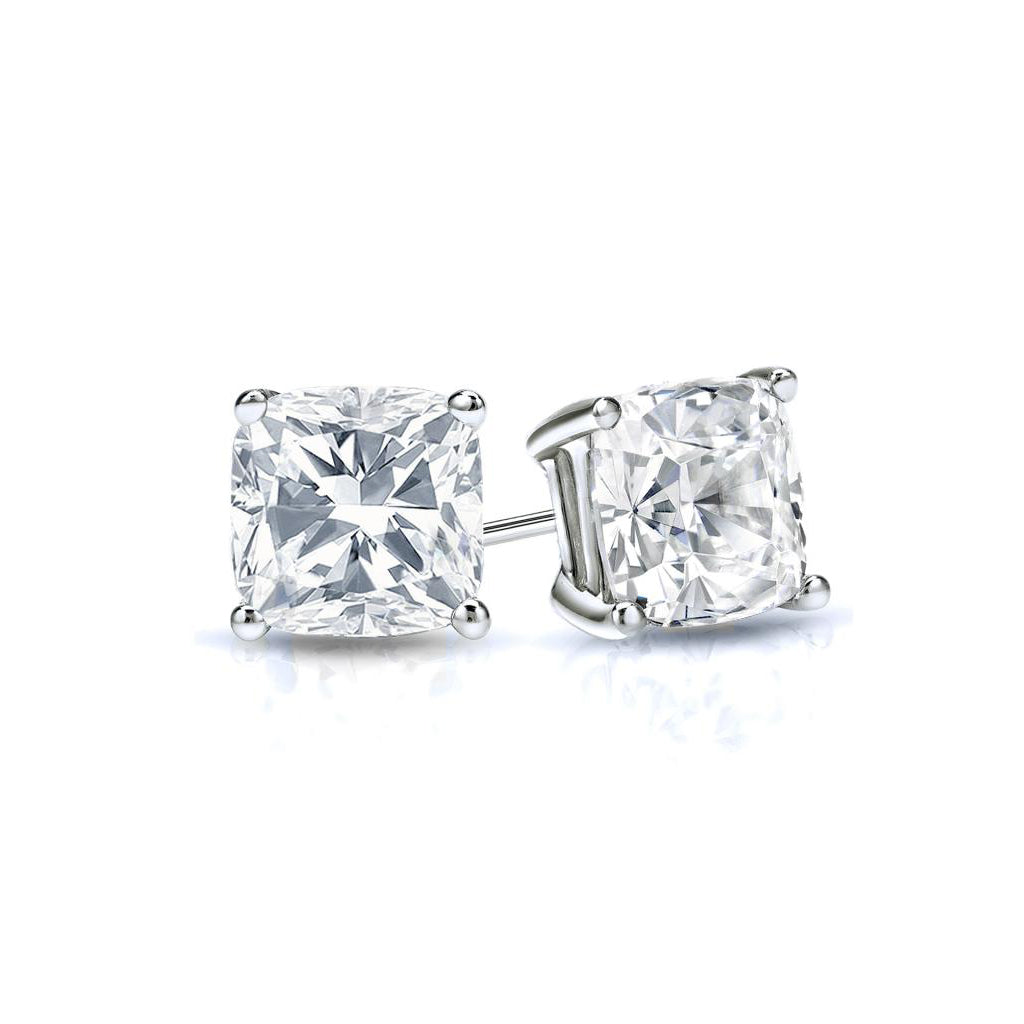 Sterling Silver CZ Cushion Cut  Studs Earrings