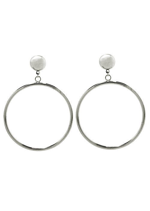 Door Knocker Hoop Earring Silver Tone