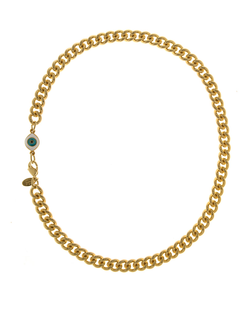 22k Gold Plated Brass Curb Chain With Evil Eye Charm 18""