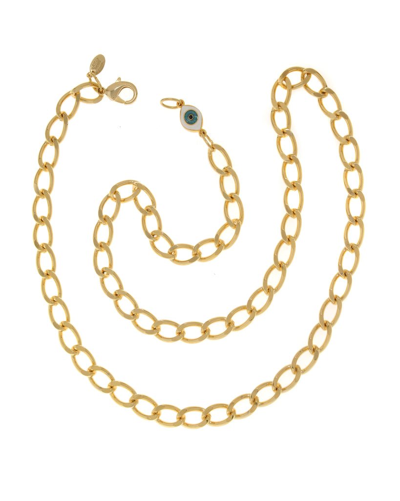 22k Gold Plated Steel Chain With Evil Eye Charm